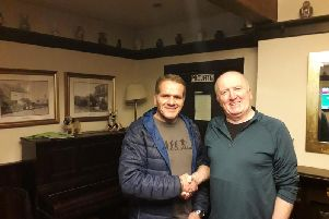 John Tracey from Ribchester Rovers Football Club and David Procter, RATS chairman.