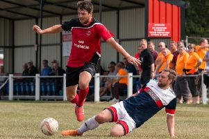 Brandon Shaw, who scored the all-important goal for Ollerton Town at Harworth.
