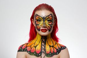 Tiffany spends hours transforming her own body into various creations using make-up