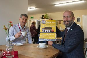 Trevor Middleton, Town Centres and Markets Manager, ADC and Robert Mitchell, Chief Executive of Ashfield District Council in The Tea Room in Kirkby.