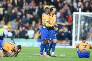 Picture by Howard Roe/AHPIX.com;Football;Skybet; Play Off Semi Final;'Mansfield Town v Newport County'12/5/2019  KO 6.00pm; One Call Stadium;'copyright picture;Howard Roe;07973 739229''Stag's Tyler Walker is comforted by skipper Krystain Peace after his penalty miss cost the Stags a place at Wembley
