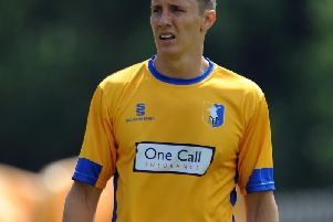 Martin Riley in action for Mansfield Town.