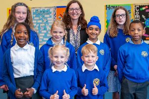 Thumbs up from pupils and head teacher Heather Gabb at Burntstump Seely Academy. (PHOTO BY: Louise Brimble)