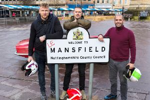 Freddie Flintoff, Paddy McGuinness and Chris Harris in Mansfield.