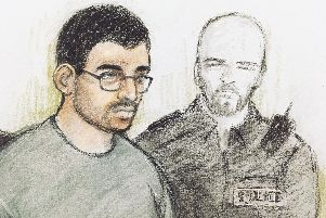 File photo dated 18/7/2019 of court artist sketch by Elizabeth Cook of Hashem Abedi in the dock at Westminster Magistrates' Court in London (Picture: Elizabeth Cook/PA Wire)