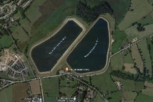 A satellite image of the two Spade Mill reservoirs.