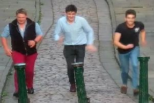 The men  seemed to be having a good time in the city.