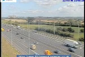 An accident involving two cars has lead to one lane being closed on the M1.