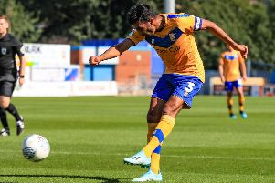 Picture John Hobson/AHPIX LTD, Football, Sky Bet League Two, Mansfield Town v Stevenage, One Call Stadium, Mansfield, UK, 24/08/19, K.O 3pm''Mansfields Mal Benning with a shot on goal''Howard Roe>>>>>>>07973739229