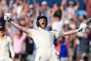 Ben Stokes celebrates England's win in the Headingley Test.