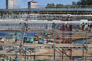 This is the HS2 construction site near Euston Station in London.