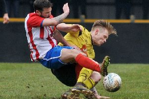 Joe Ashurst (right), who could miss Saturday's FA Vase tie unless wins an appeal to overturn a red card.