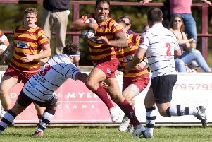 Fylde's Dave Fairbrother takes the attack to Preston Grasshoppers