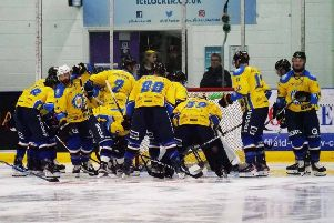 Leeds Chiefs break away from their pre-match huddle at Ice Sheffield. Picture: Chris Stratford.