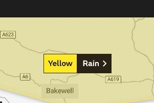 Flood are predicted for Derbyshire after the Met Office issue a yellow weather warning for rain