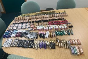 Some of the stolen products which were found after three people were arrested in Long Eaton