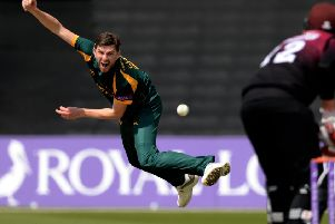 NOTTINGHAM, ENGLAND - MAY 12 : Harry Gurney of Nottinghamshire bowls to Craig Overton of Somerset during the Royal London one-day semi-final between Nottinghamshire and Somerset at Trent Bridge on May 12, 2019 in Nottingham, England. (Photo by Philip Brown)