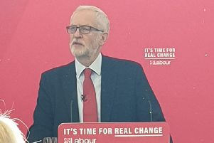Jeremy Corbyn speaking at Lancaster University this morning.