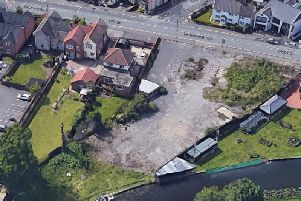 An aerial view of the former Royal Oak pub site on Tamworth Road, Long Eaton, which will be transformed into canal-sidecare home  complete with a roof terrace and boat house.