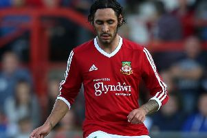 Danny Racchi in action for Wrexham.