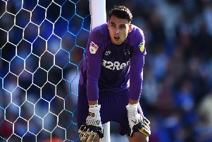 Kelle Roos of Derby County. Photo by Nathan Stirk/Getty Images.