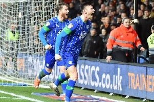 Kieffer Moore scoring on his last outing at Luton