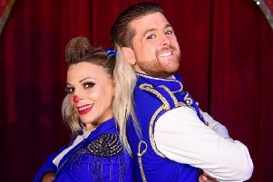 Clown Andreea and ringmaster Joel Hatton. Photo by Andrew Payne.