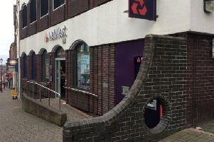 The 'treasured' hole in the wall outside Ilkeston's NatWest Bank on Bath Street.