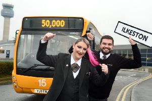 Trent Barton drivers Leeann Shearer and Jonno Beecham celebrate the success of My15 since it's route extension to East Midlands Airport.