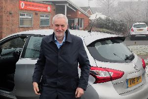 Jeremy Corbyn arrived in Ilkeston from Nottingham by car after his bus failed to turn up. Pictures by Eric Gregory.