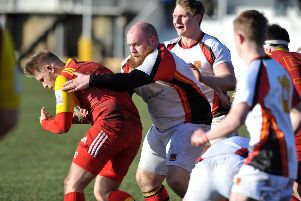 Durham and Northumberland Rugby between Sunderland RFC (white) and Whitley Bay Rockcliffe, played at Ashbrooke Sports Ground, Sunderland.