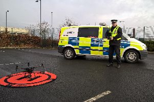Assistant Chief Constable David Hartley with a drone