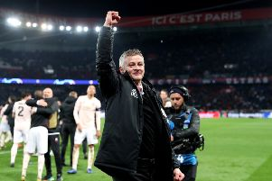 PARIS, FRANCE - MARCH 06:  Ole Gunnar Solskjaer, Manager of Manchester United celebrates victory during the UEFA Champions League Round of 16 Second Leg match between Paris Saint-Germain and Manchester United at Parc des Princes on March 06, 2019 in Paris, . (Photo by Julian Finney/Getty Images)