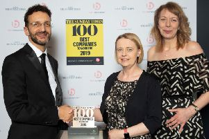 Pictured are Nick Rodrigues, of the Sunday Times, Lisa Leighton and Louise Allen, of Chesterfield BHP.