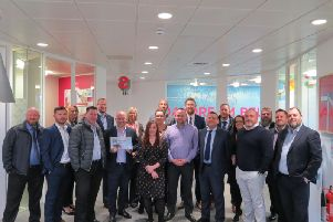 Staff at the Thorn Baker Group celebrate their Sunday Times listing.