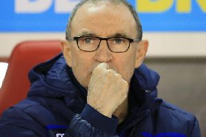 Martin O'Neill looks on during the Villa game. Photo by Jez Tighe.