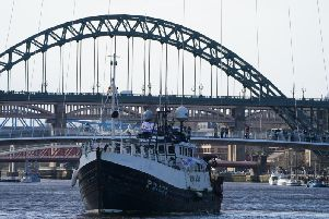 Fishing For Leave protestors protest against the Prime Minister's Brexit plans on the River Tyne in Newcastle.
