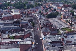 An aerial shot of Ilkeston town centre