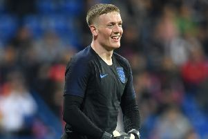 Jordan Pickford before England's match in Montenegro. (Photo by Michael Regan/Getty Images)