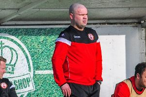 Lee Fowler oversees Ilkeston's win at AFC Wulfrunians. Photo by Craig Lamont.
