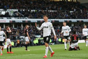 Derby County midfielder Mason MOUNT celebrates after scoring his 3rd goal during the game between Derby County & Bolton Wanderers FC at Pride Park Derby 13-04-19 Image Jez Tighe