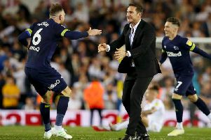 Lampard celebrates with Richard Keogh.