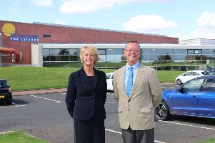 Council leader Peter Jackson and Coun Cath Homer, cabinet member for culture, arts and leisure, at the Swan Centre in Berwick.