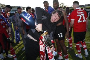 Bubbly character: Barnsley's manager Daniel Stendel celebrates promotion.