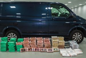 The seized drugs, including 20million in cocaine, was seized after this van was stopped by police on the M6 near Warrington.