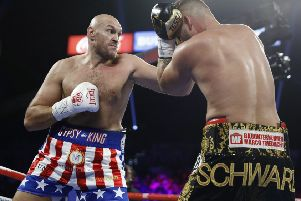 Tyson Fury on his way to victory over Tom Schwarz