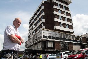 Caretaker Dave Joy pictured in front of the Brun Lea Hotel,formerly the Keirby.