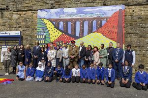 The artwork is unveiled at Dewsbury Railway Station.