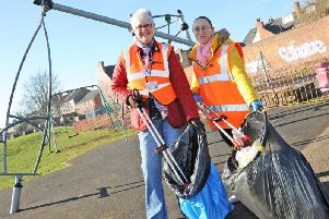 Gillian Welch and Andrea Stones from Ashfield District Council who joined teams of litter pickers for this year's Big Spring Clean.