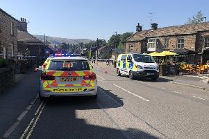 Police were forced to close the A6187 Main Road, in Hathersage, after a multiple-vehicle collision which also involved pedestrians.
